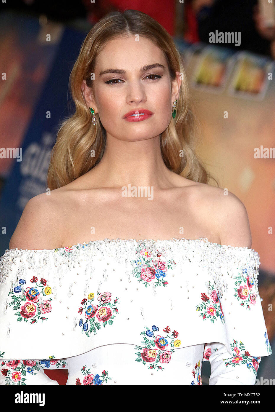 April 09, 2018 - Lily James attending The Guernsey Literary and Potato Peel Pie Society World Premiere, Curzon Mayfair in London, England, UK Stock Photo
