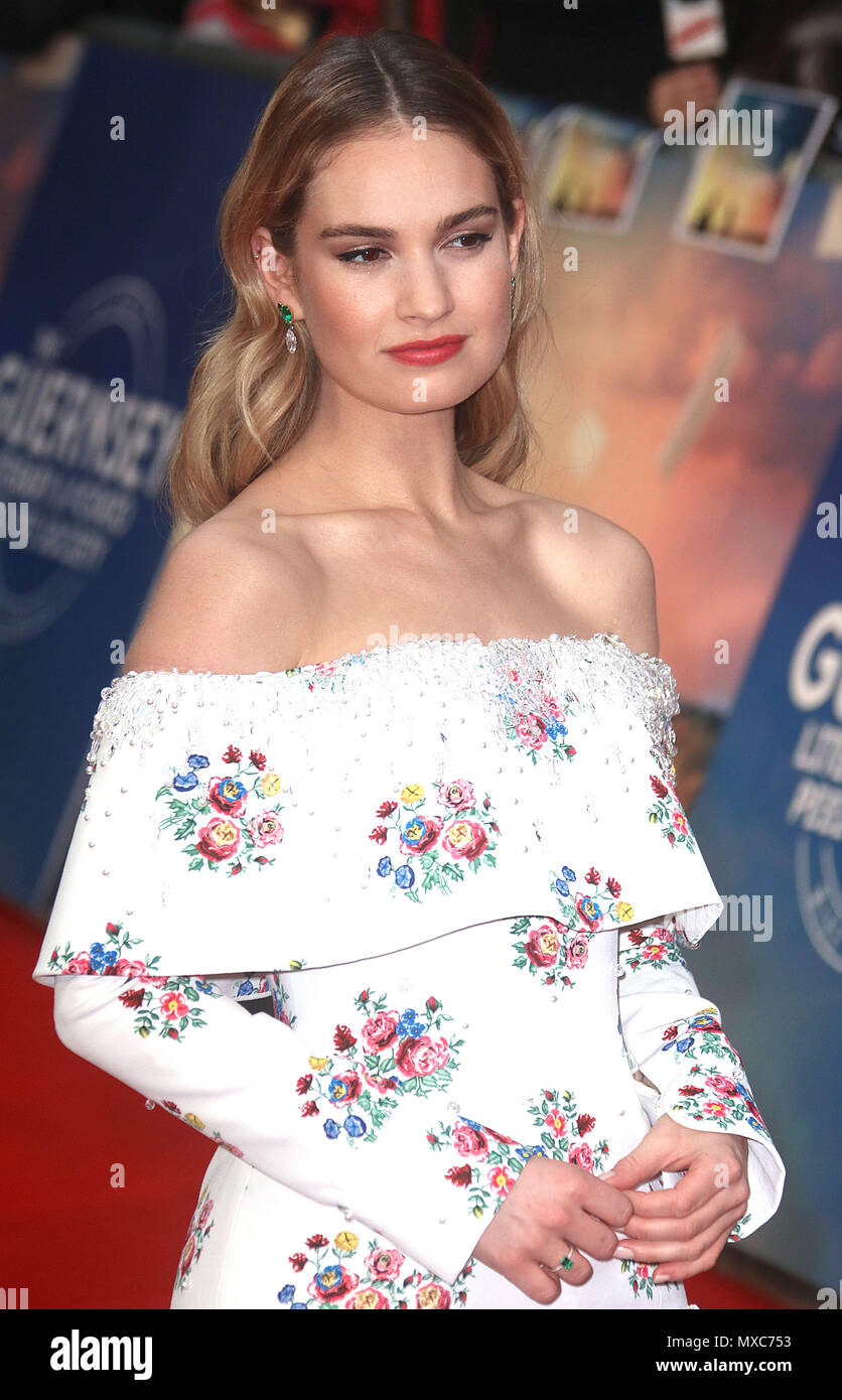 April 09, 2018 - Lily James attending The Guernsey Literary and Potato Peel Pie Society World Premiere, Curzon Mayfair in London, England, UK - Stock Image