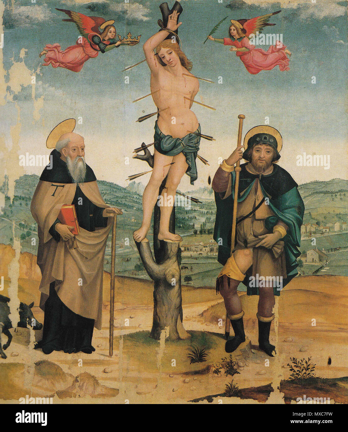 . Italian: San Sebastiano e San Rocco con due angeli (1510-1515)  . Maestro di Tavarnelle 387 Maestro di Tavarnelle s.casc - Stock Image