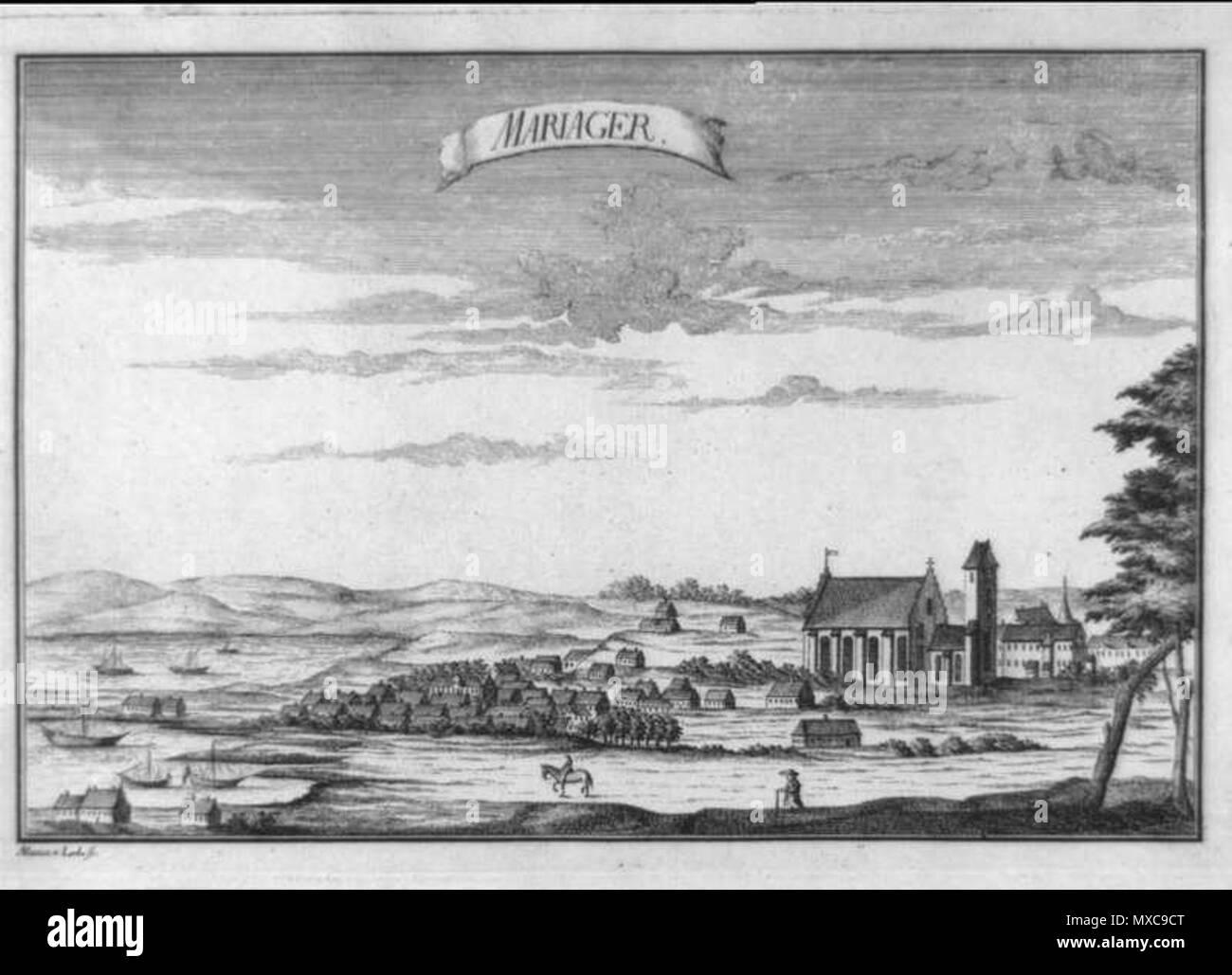 Mariager, kobberstik af Lode, Alexia v. . Alexia de Lode (1737-1765) 398  Mariager mp001365