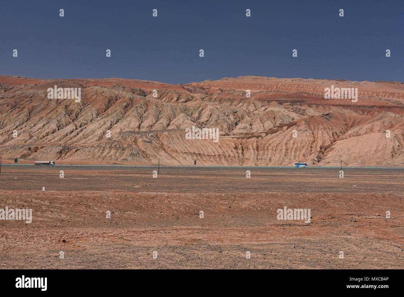 Spectrum of colors in the Flaming Mountains, Turpan, Xinjiang, China Stock Photo