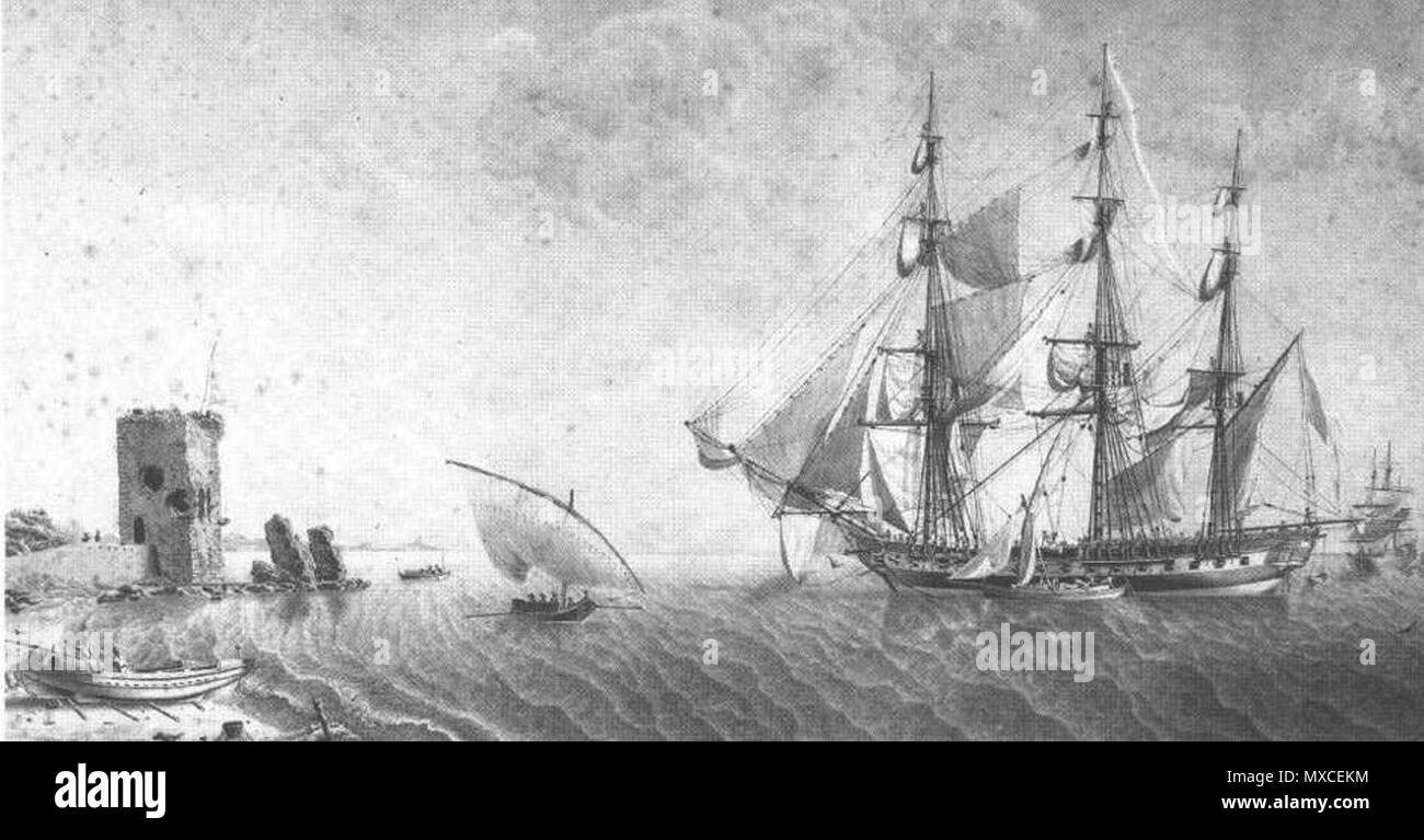 . The French 24-pounder frigate Égyptienne. . Attributed to Jean-Jacques Baugean 366 Legyptienne Stock Photo