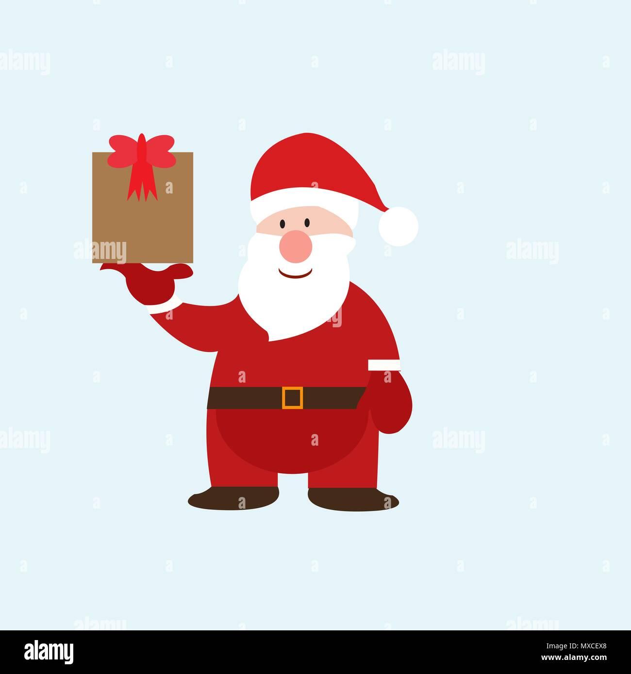 Merry Christmas. Funny Santa Claus with gift on skates. Christmas ...