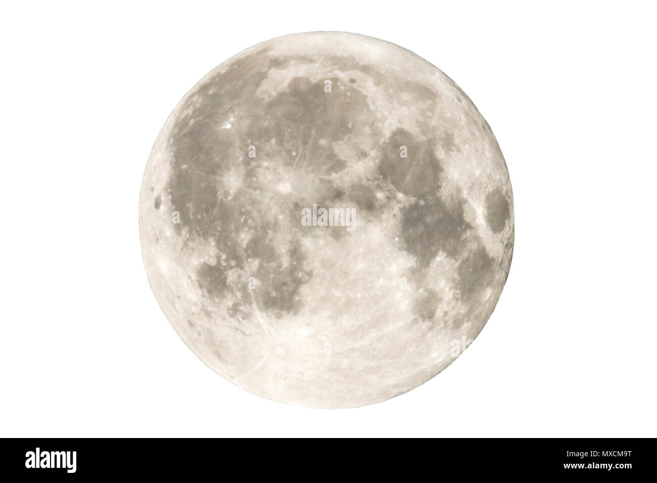 Earth's permanent natural satellite - the Moon. High resolution 6 mp image. Isolated on a white background. - Stock Image