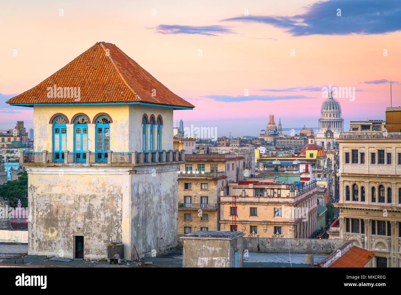Havana, Cuba downtown skyline from the port. - Stock Image