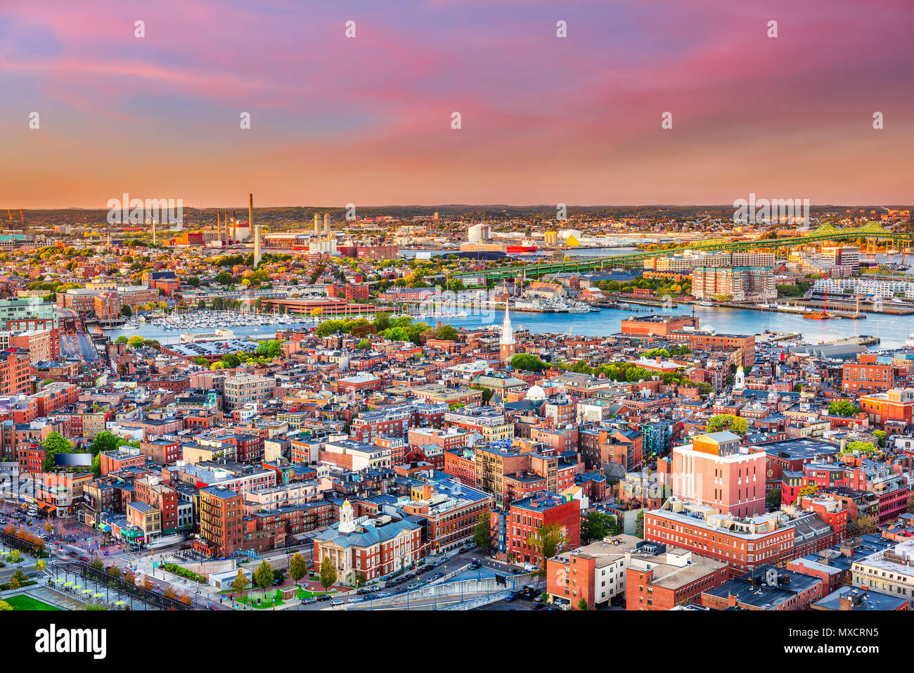 Boston, Massachusetts, USA cityscape over North End. - Stock Image