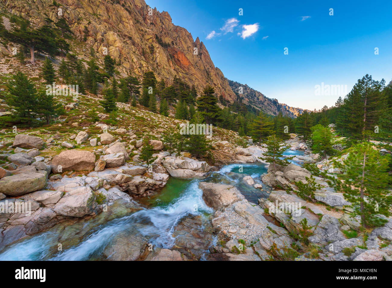 Mountain Stream in Central Corsica, France around sunset - Stock Image