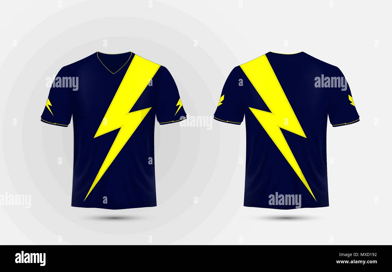 Blue And Yellow Layout Sport Shirt Design Template Lightning
