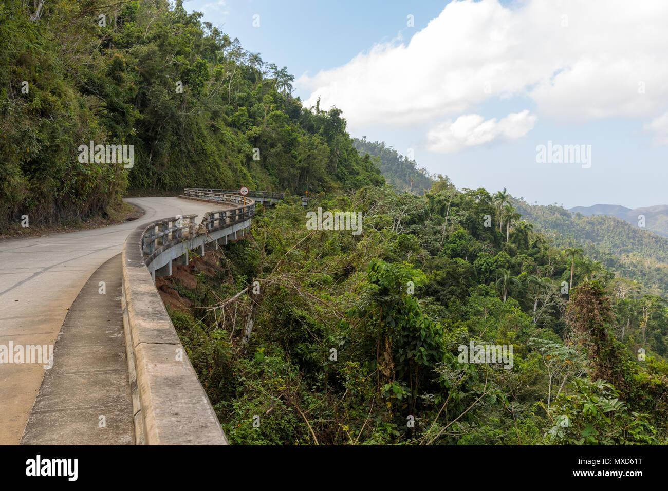 view over the Alejandro de Humboldt National Park on the road to santiago de cuba. region guantanamo cuba. UNESCO world heritage site - Stock Image