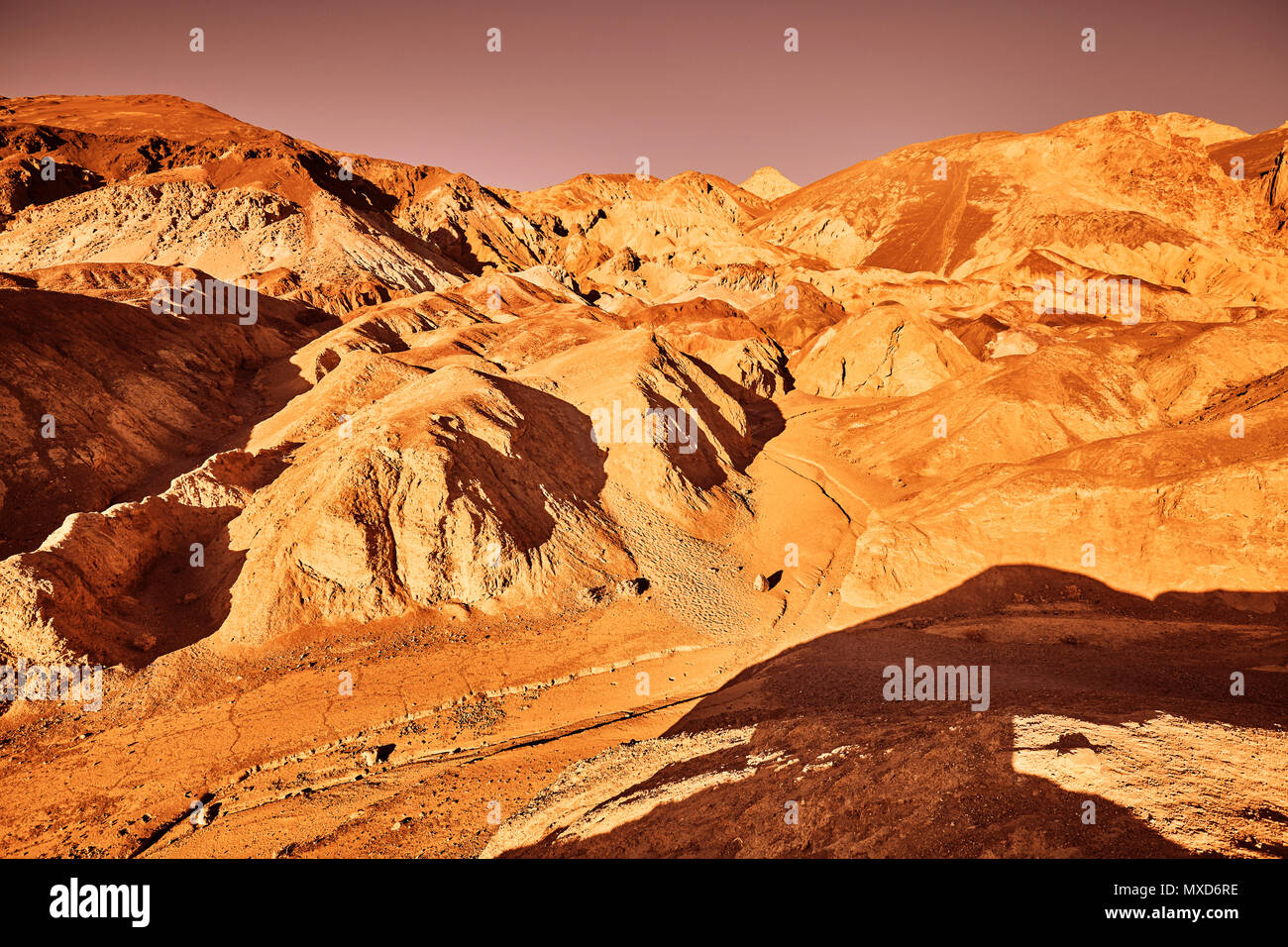 Mars-like deserted land, color toning applied, Death Valley, USA. - Stock Image