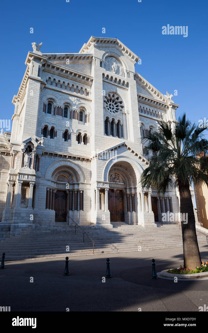 Monaco principality, Saint Nicholas Cathedral (Cathedrale Notre Dame Immaculee), built in 1875-1903, Romanesque Revival architecture - Stock Image