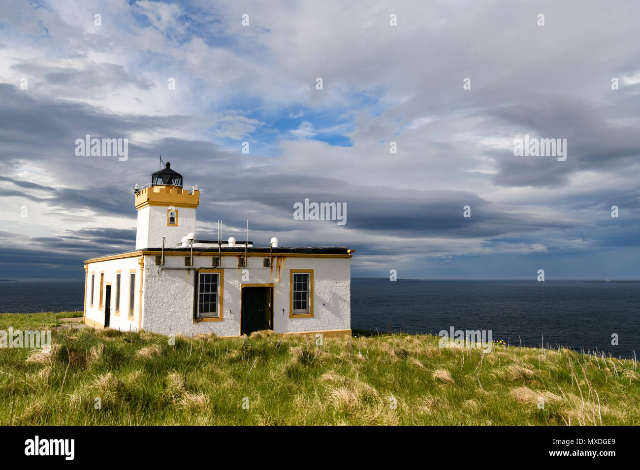 The Lighthouse at Ducansby Head in Caithness, Scotland. The farthest port by road from Lands End on the British mainland. 20 May 2018 - Stock Image
