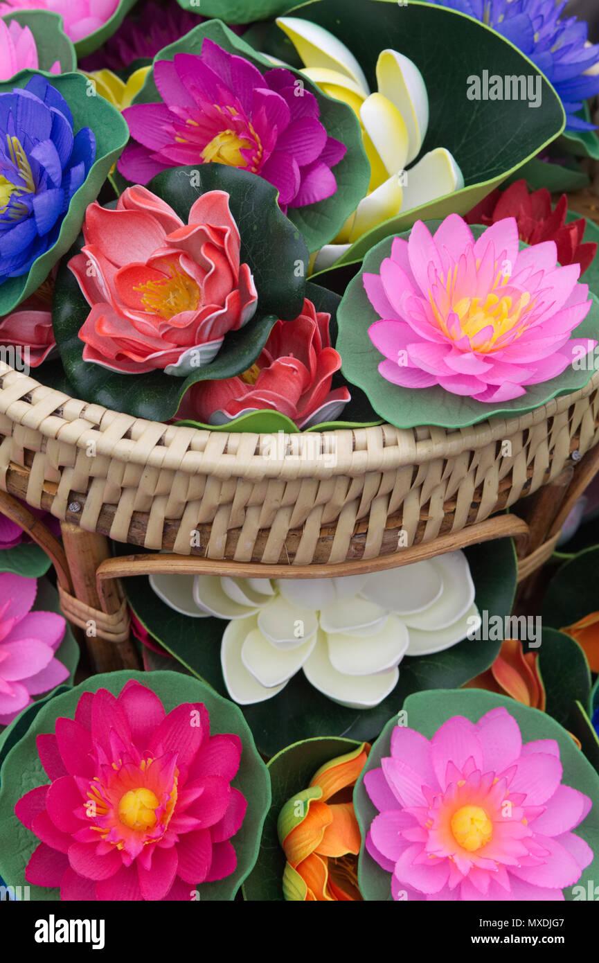 Artificial lotus flower stock photos artificial lotus flower stock decorative silk lotus flowers stock image izmirmasajfo