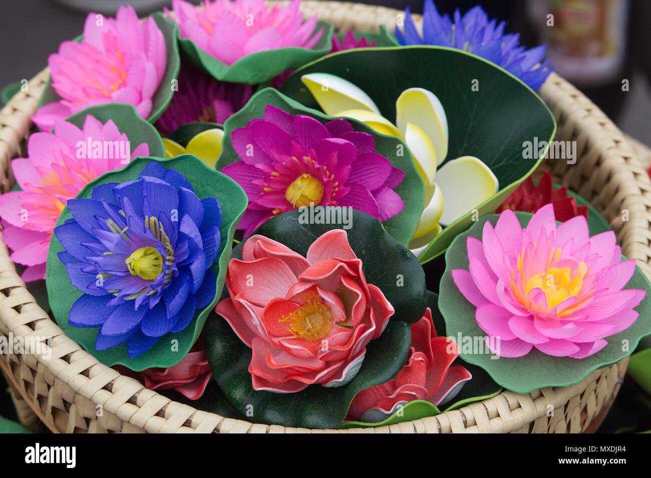Lotus flower market stock photos lotus flower market stock images decorative silk lotus flowers stock image izmirmasajfo