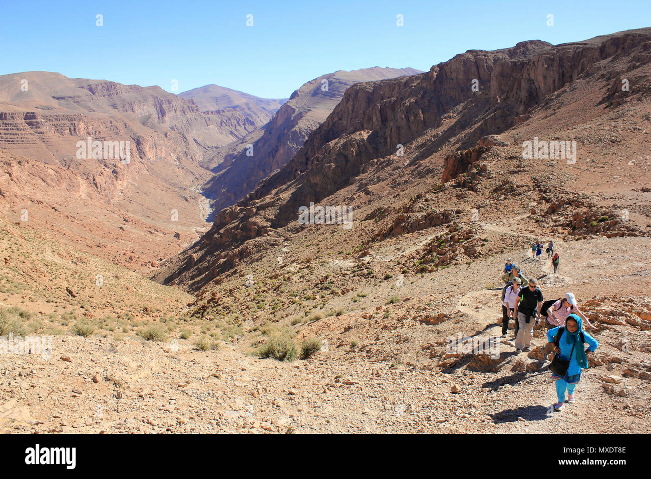 Hiking In Todra Valley Morocco - Stock Image