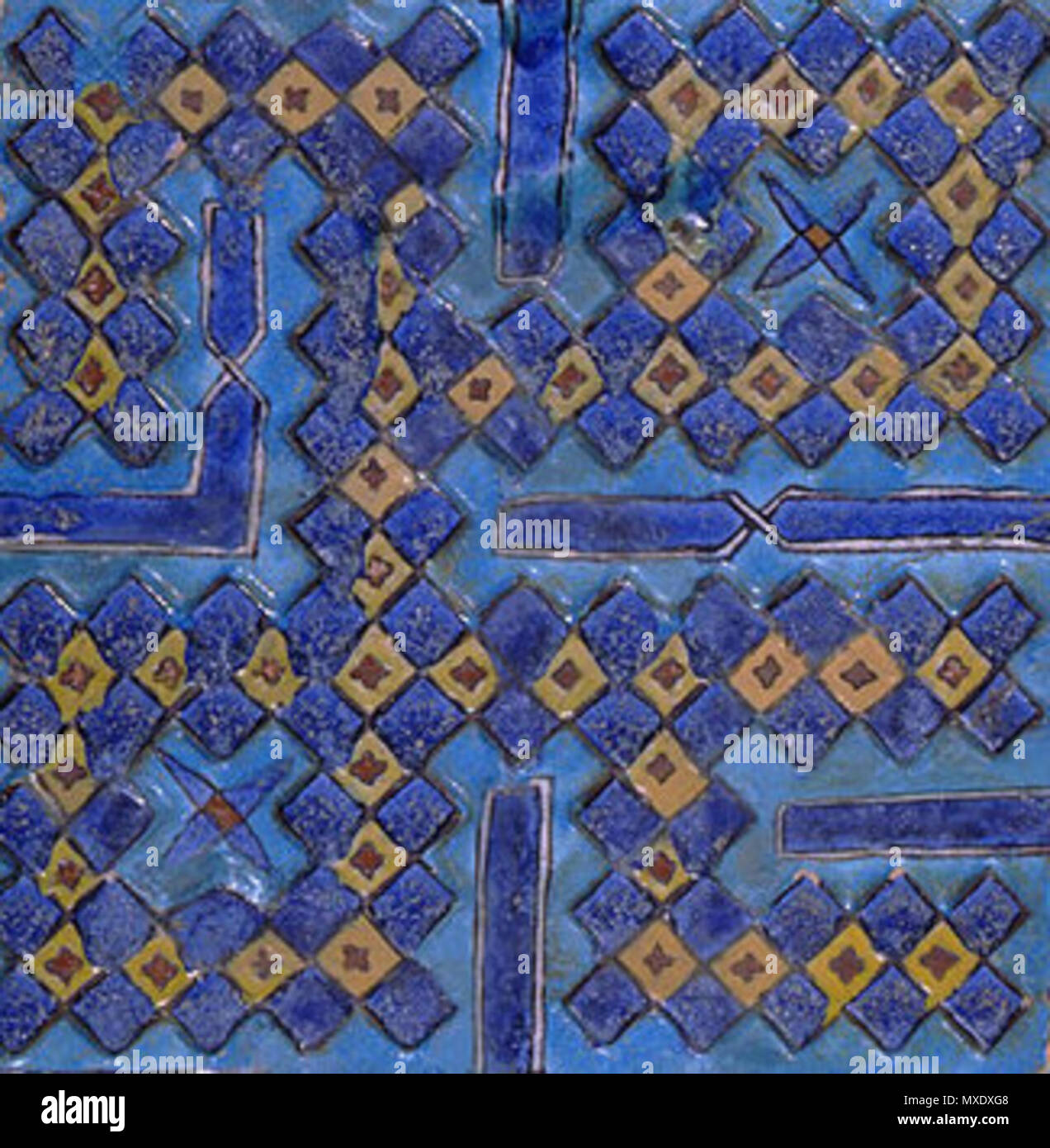 English: Tile with the name Muhammad in square Kufi. From a ...