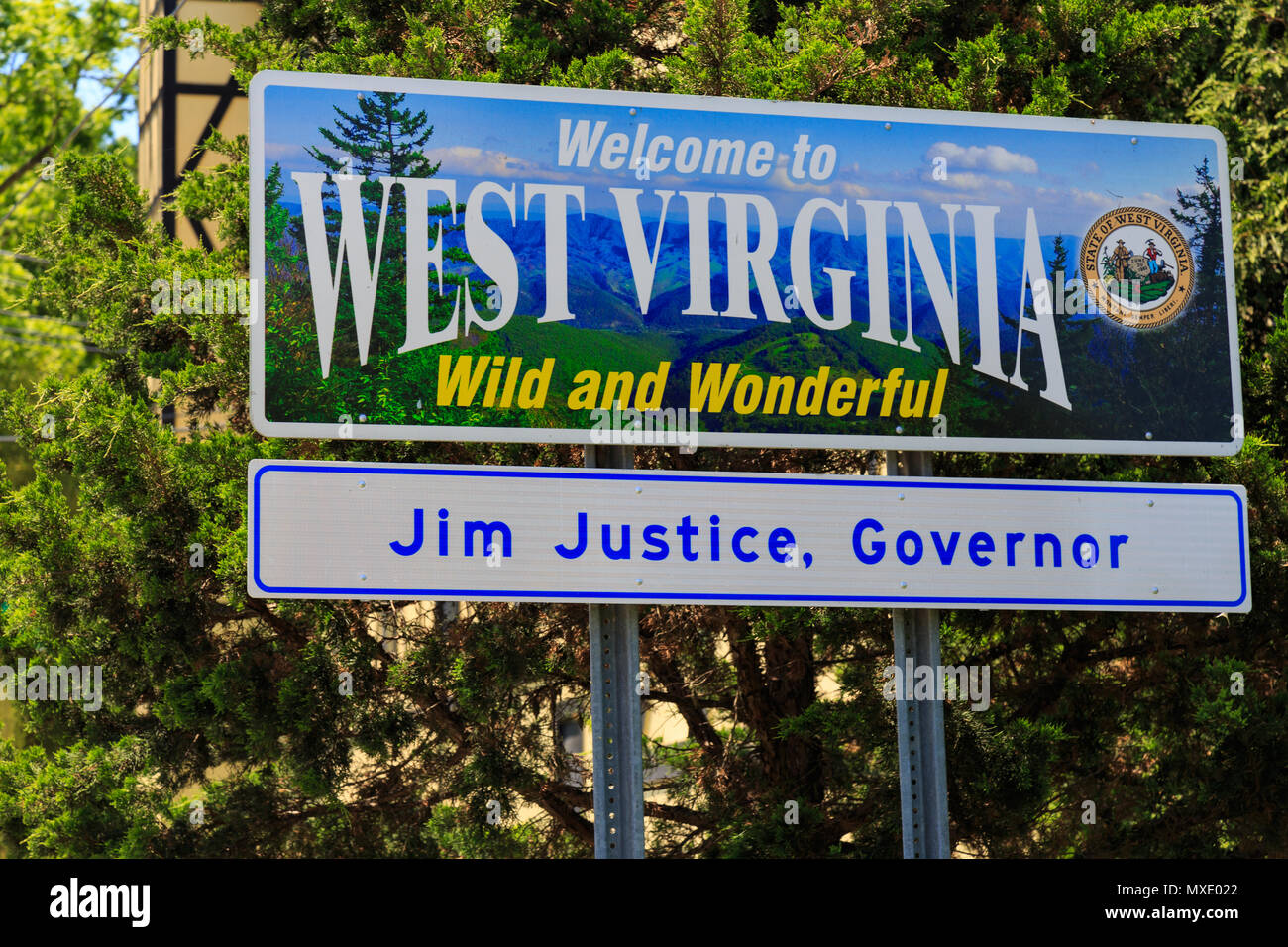 Shepherdstown, WV, USA - May 24, 2018: The Welcome to West Virginia