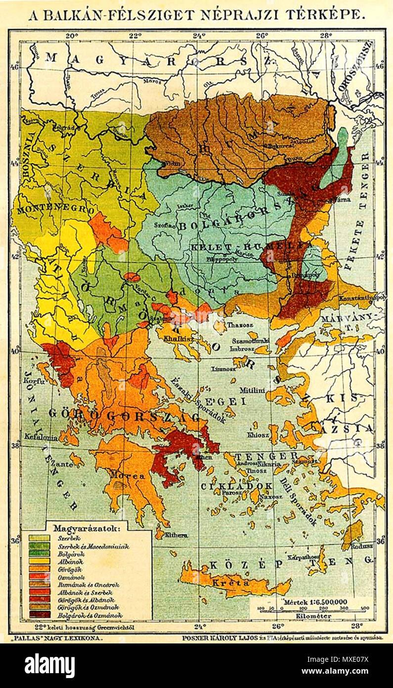 Blgarski Etnografska Karta Na Yugoiztochna Evropa Spored Ungarski