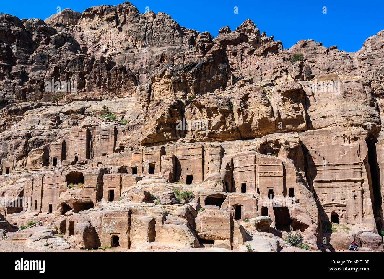Street of facades in the Lost City of Petra, Jordan - Stock Image
