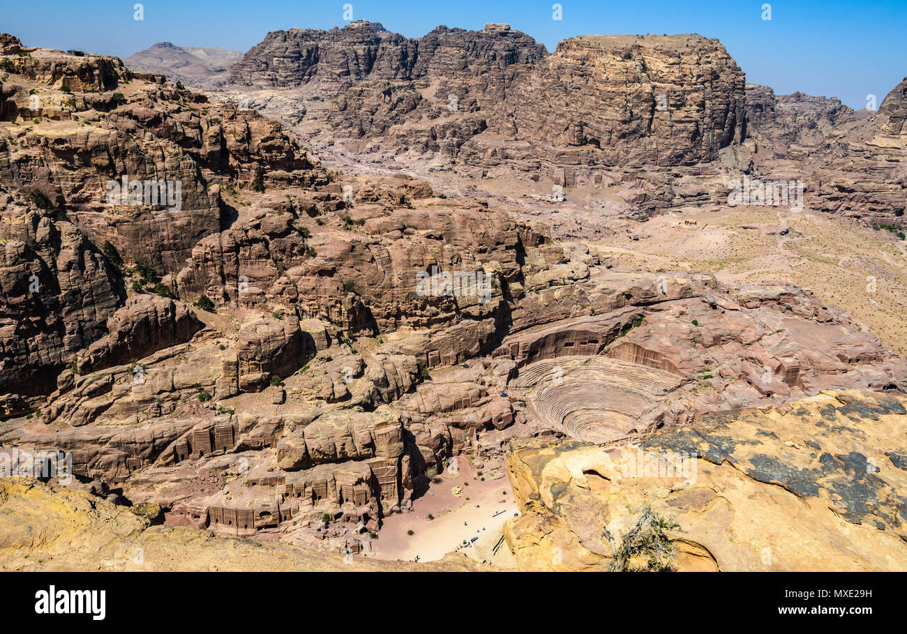Aerial view of the Roman Theater and Street of Facades in the Lost City of Petra, Jordan - Stock Image