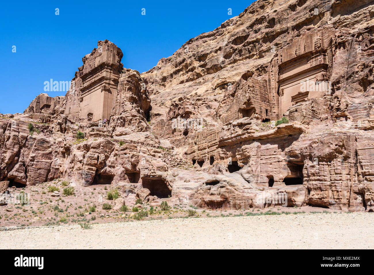 Antique tombs in the Lost City of Petra, Jordan - Stock Image