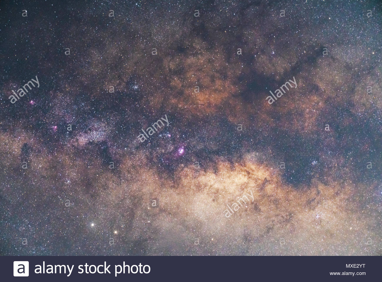 Close-up of Milky way galaxy with stars and space dust in the universe, Long exposure photograph, with grain. - Stock Image