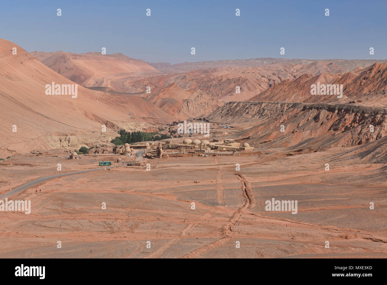Spectrum of colors in the Flaming Mountains, Turpan, Xinjiang, China - Stock Image