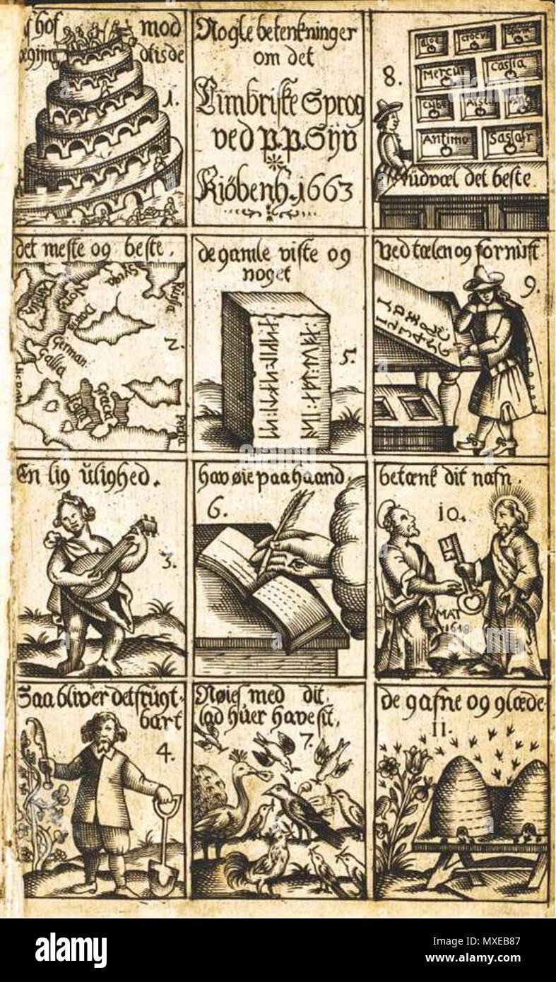 . English: Nogle Betenkninger om det Cimbriske Sprog (1663) . 1663. Unknown 448 Nogle Betenkninger om det Cimbriske Sprog (1663) - Stock Image