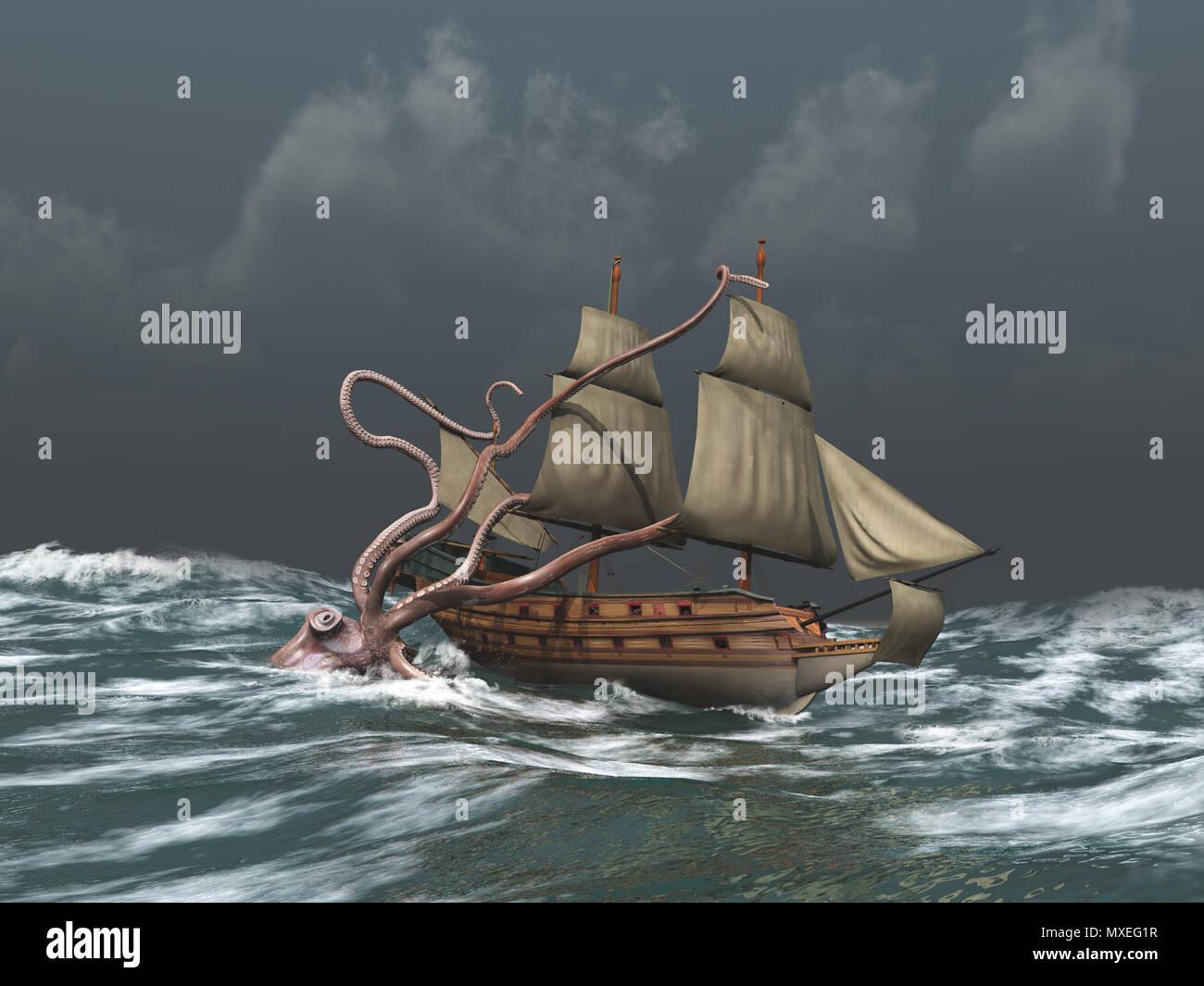 Kraken attacking an ancient ship - Stock Image
