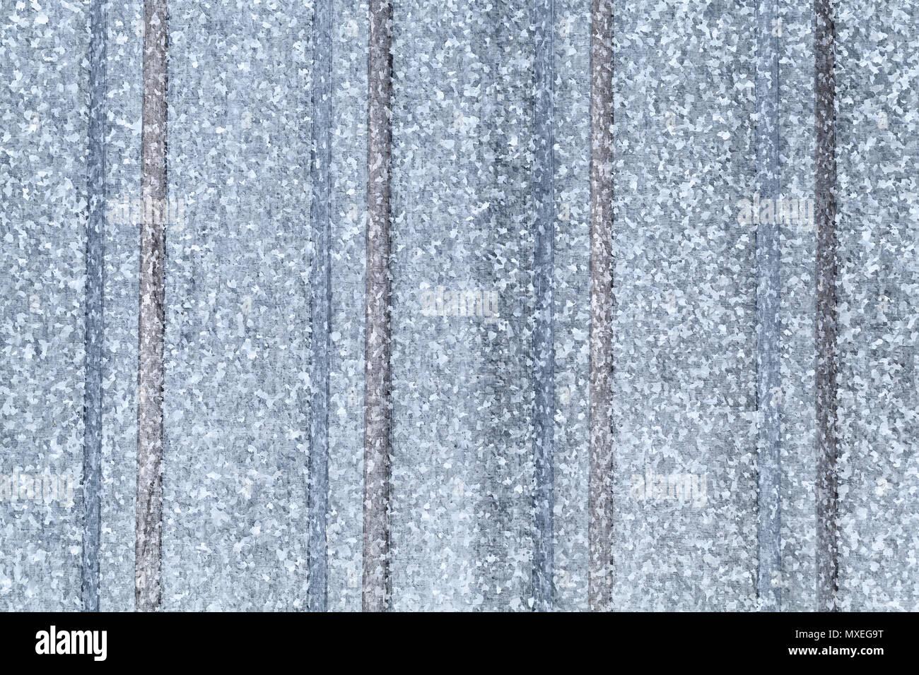 Gray galvanized ridged steel sheet, flat background photo texture - Stock Image