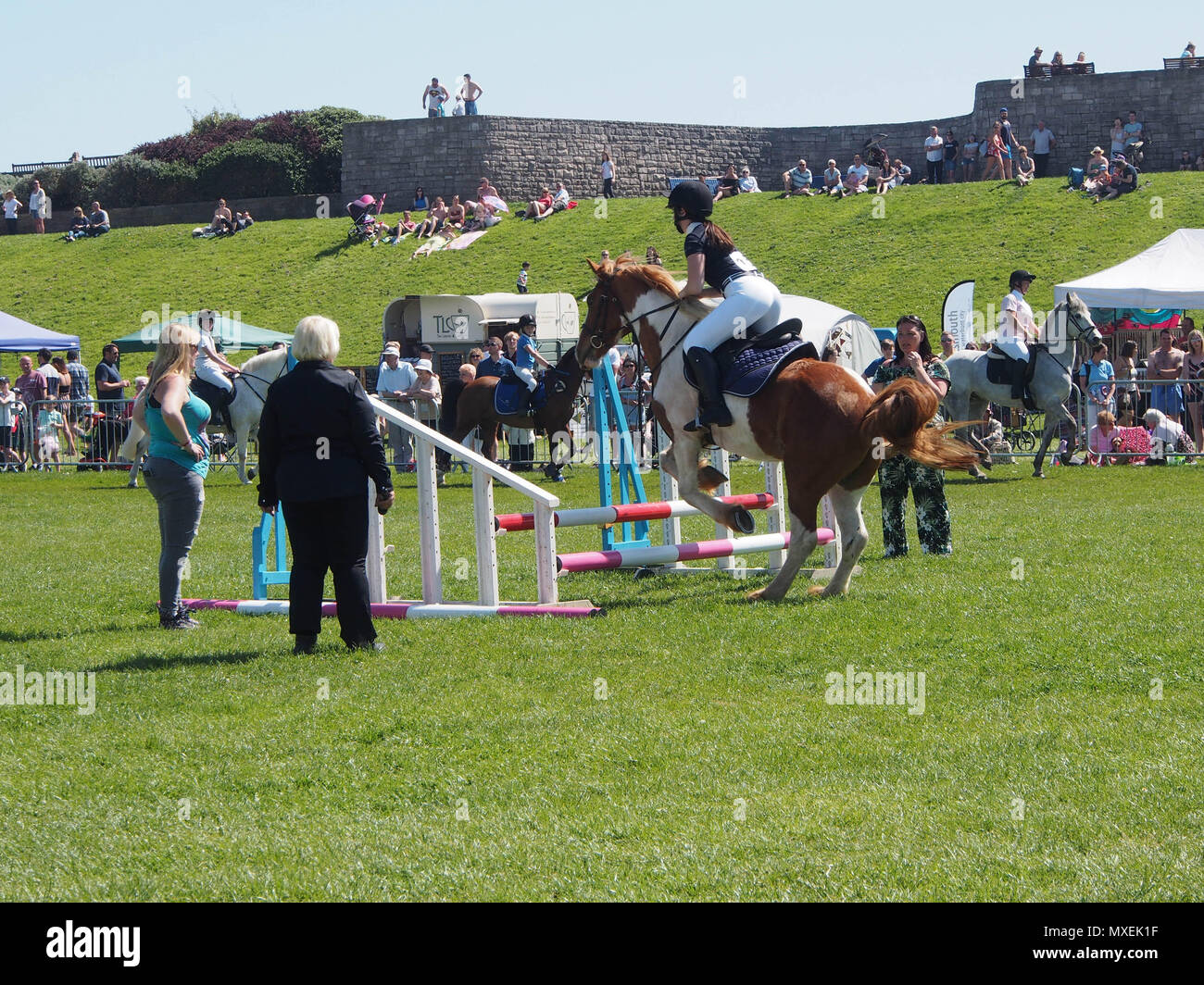 A Horse Jumps Over A Hurdle At A Showjumping Event Stock Photo Alamy
