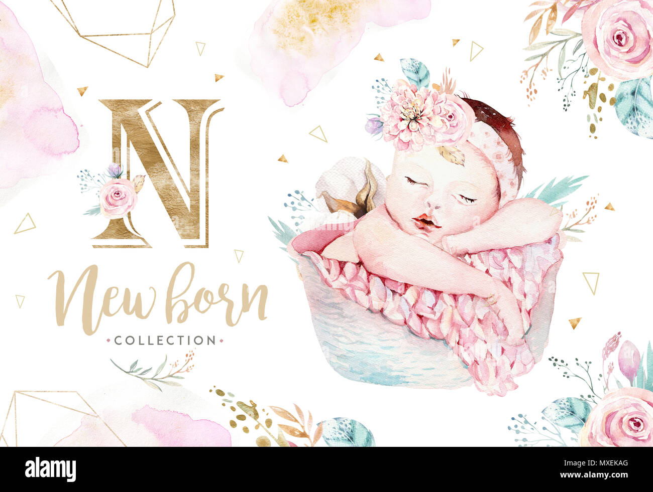 Cute newborn watercolor baby. New born child illustration girl, boy painting. Baby shower isolated birthday painting card. Handmade painting. - Stock Image