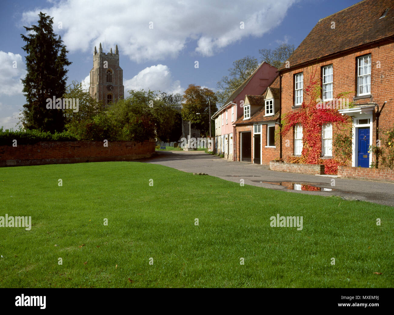 The village green at Stoke-by-Nayland, Suffolk - Stock Image