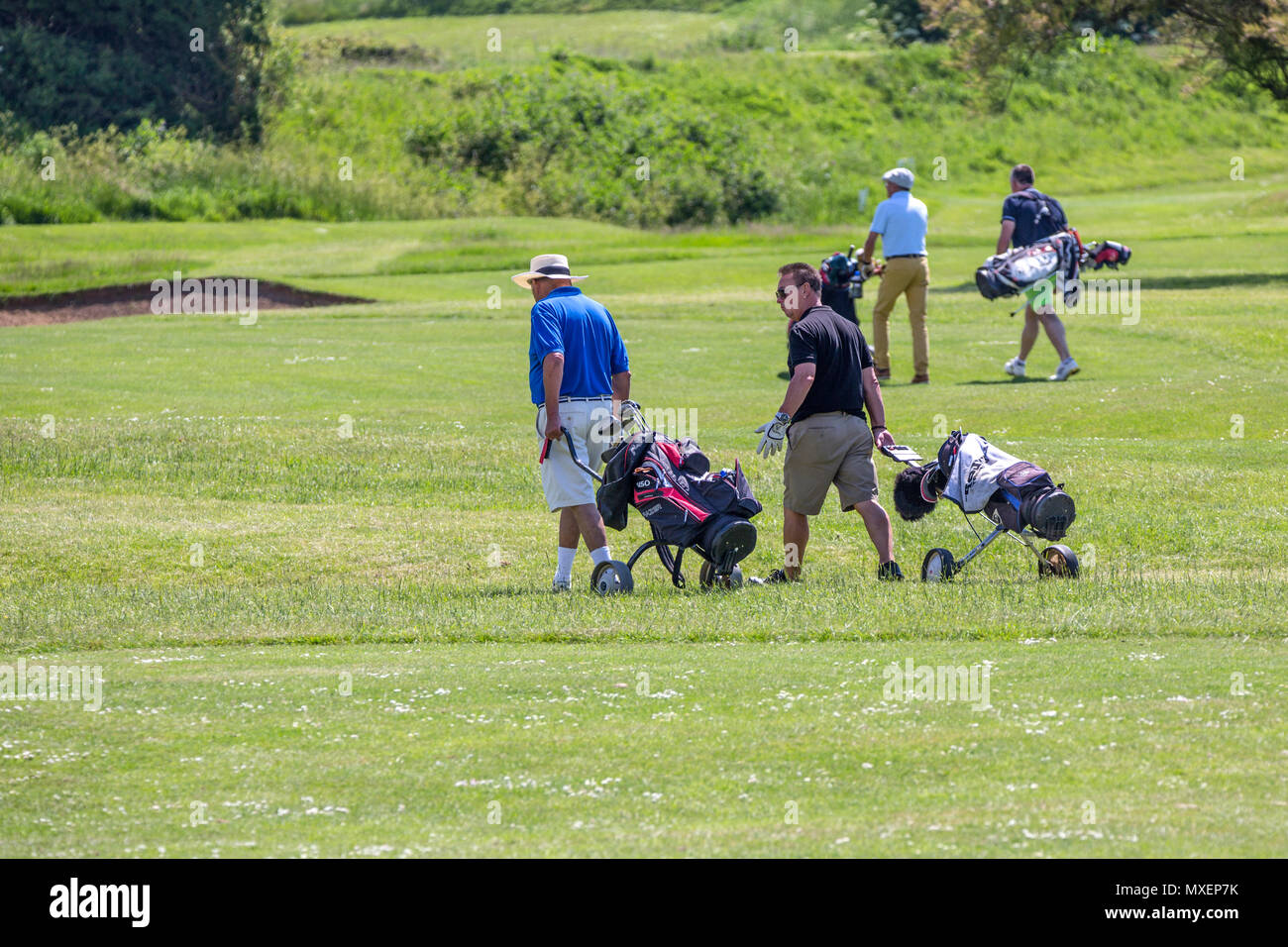 Golfers chatting on the golf course. - Stock Image