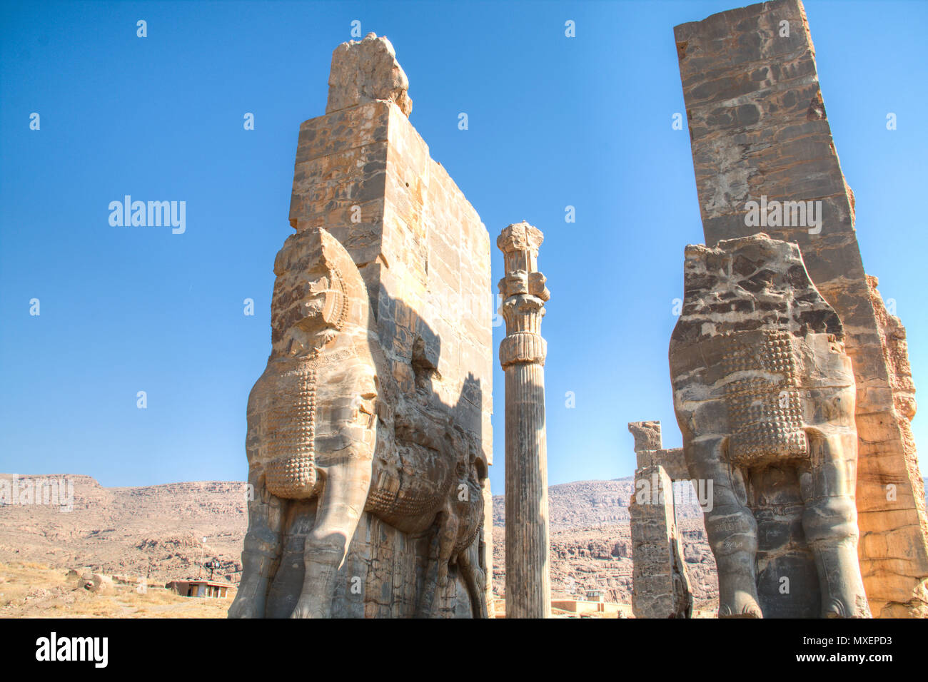 Gate of all nations at the Ancient city Persepolis was once the capital of the Achaemenid empire and is now UNESCO heritage. The site can be found nea Stock Photo