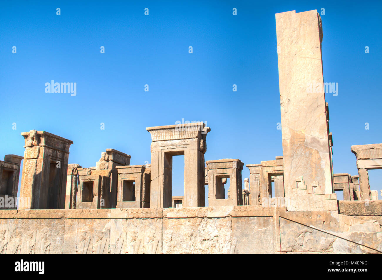 The Ancient city Persepolis was once the capital of the Achaemenid empire and is now UNESCO heritage. The site can be found near Shiraz in Iran Stock Photo