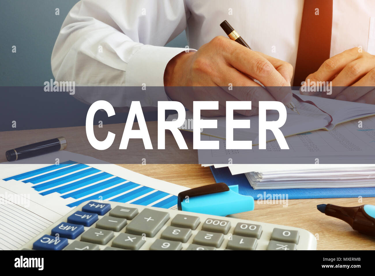 Career concept. Businessman is working with documents. - Stock Image