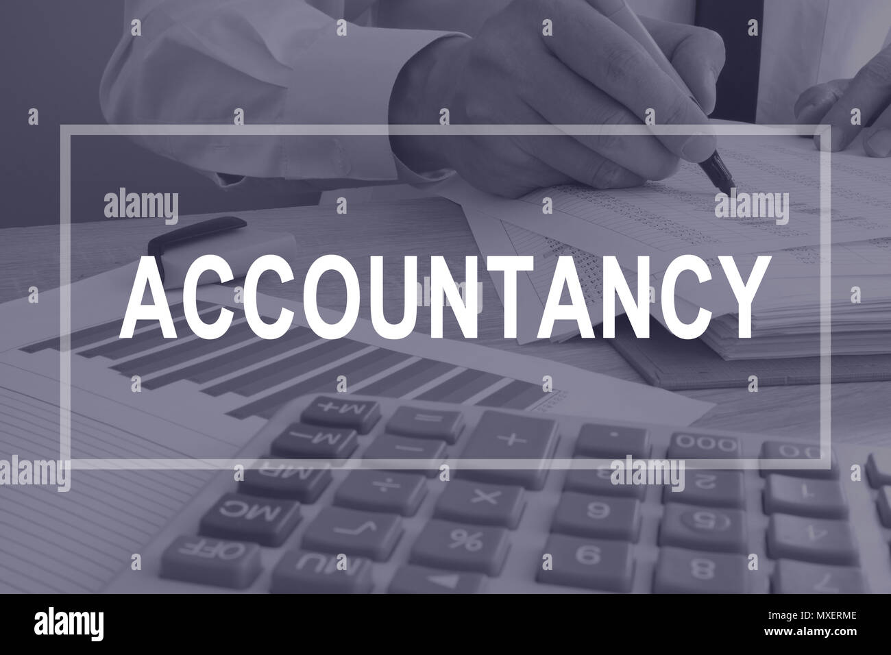 Accountancy concept. Accountant is working with report. - Stock Image