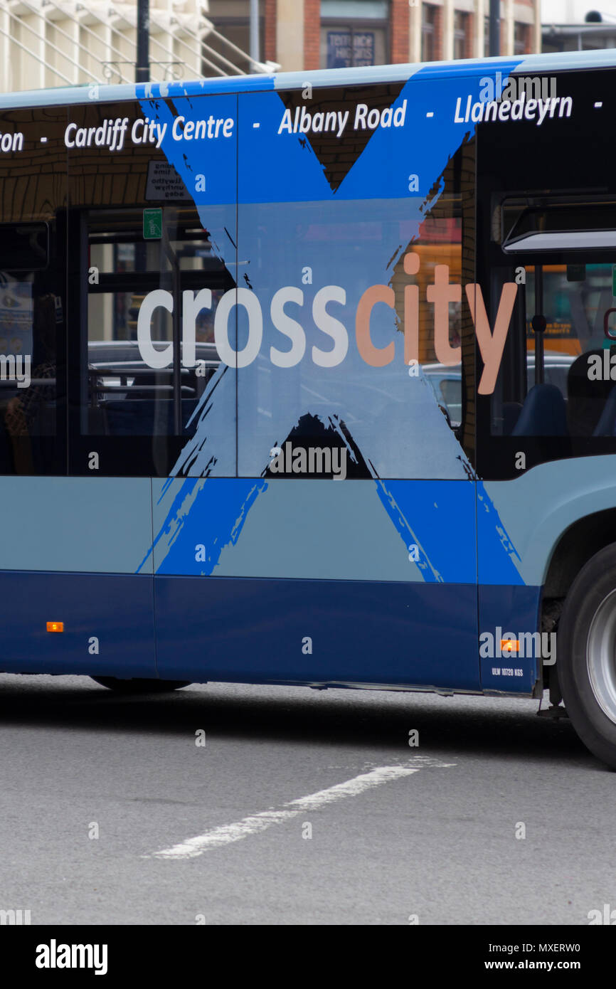 Cardiff, Glamorgan, Wales, UK. 13th April 2018. UK. Cross City bus in Cardiff City Centre. - Stock Image