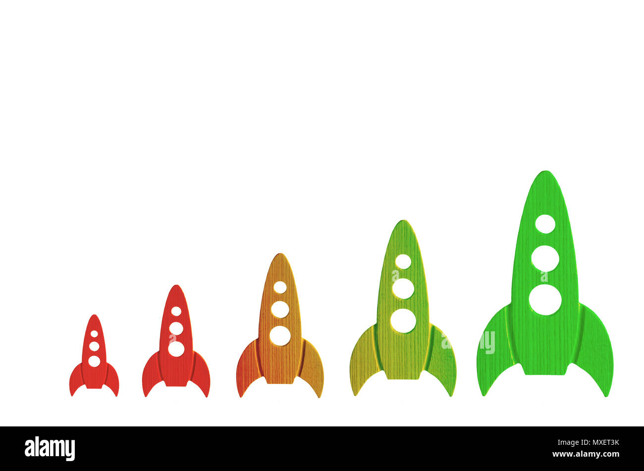 Rockets color from red to green are in order of increasing on a white background. The concept of space and technology, travel to the stars and other p - Stock Image