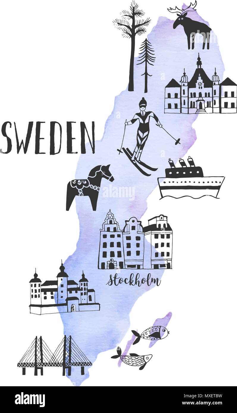 Vector watercolor map with handdrawn illustrations of famous sightseeings, places and landmarks of Sweden - Stock Image
