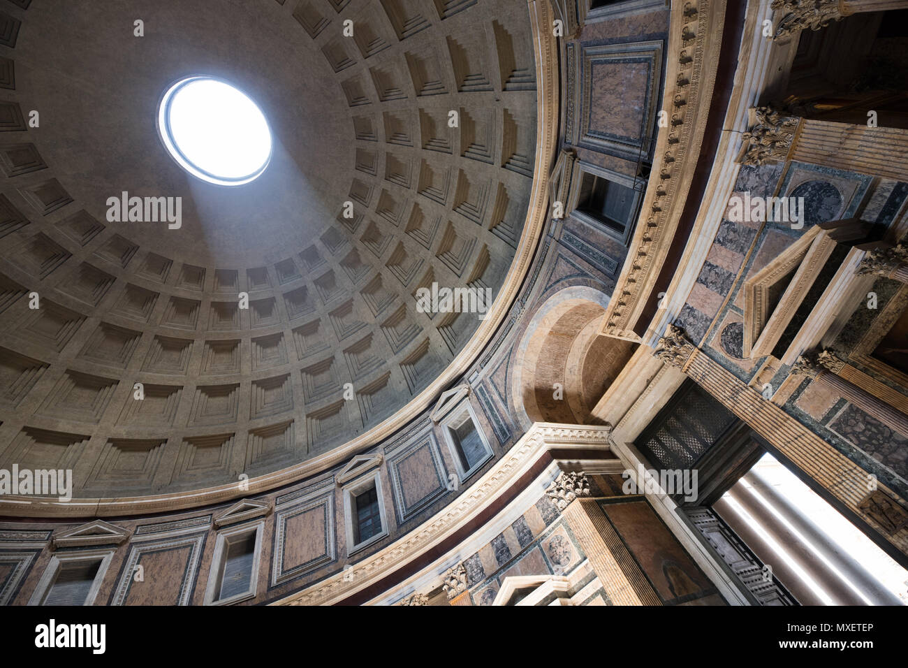 Rome Pantheon interior, light true the hole on dome, achitecture, Italy - Stock Image