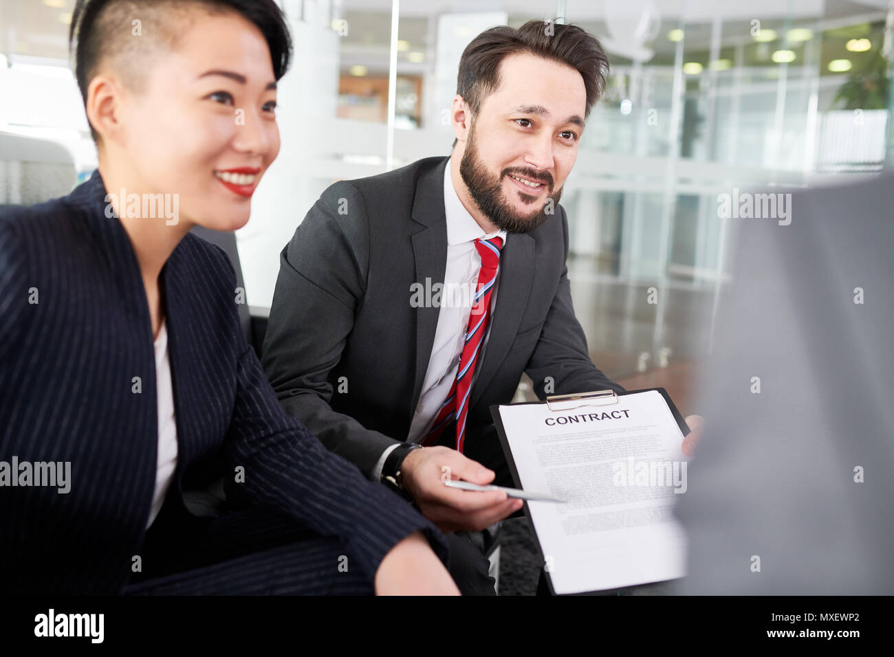 Productive Negotiations with Business Partner Stock Photo