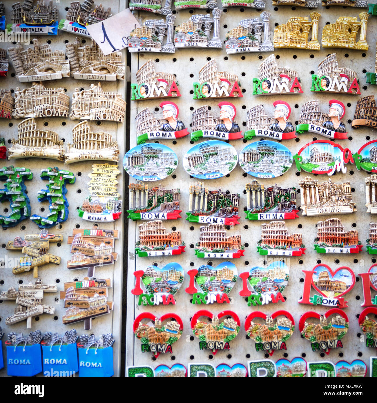 souvenirs for tourists in Rome, Italy - Stock Image