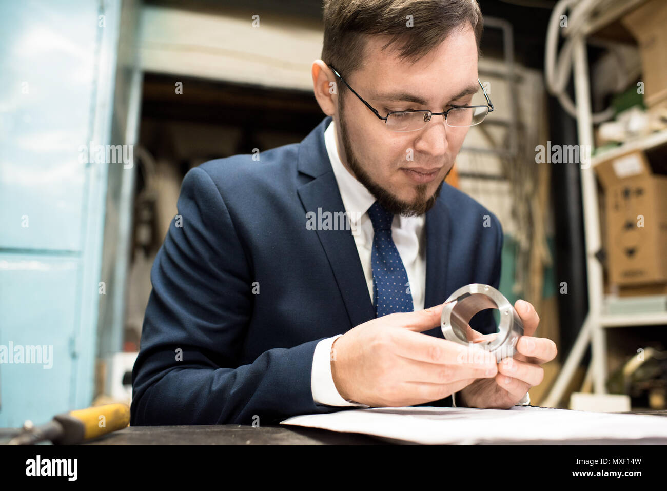Carrying out Quality Control at Modern Plant - Stock Image