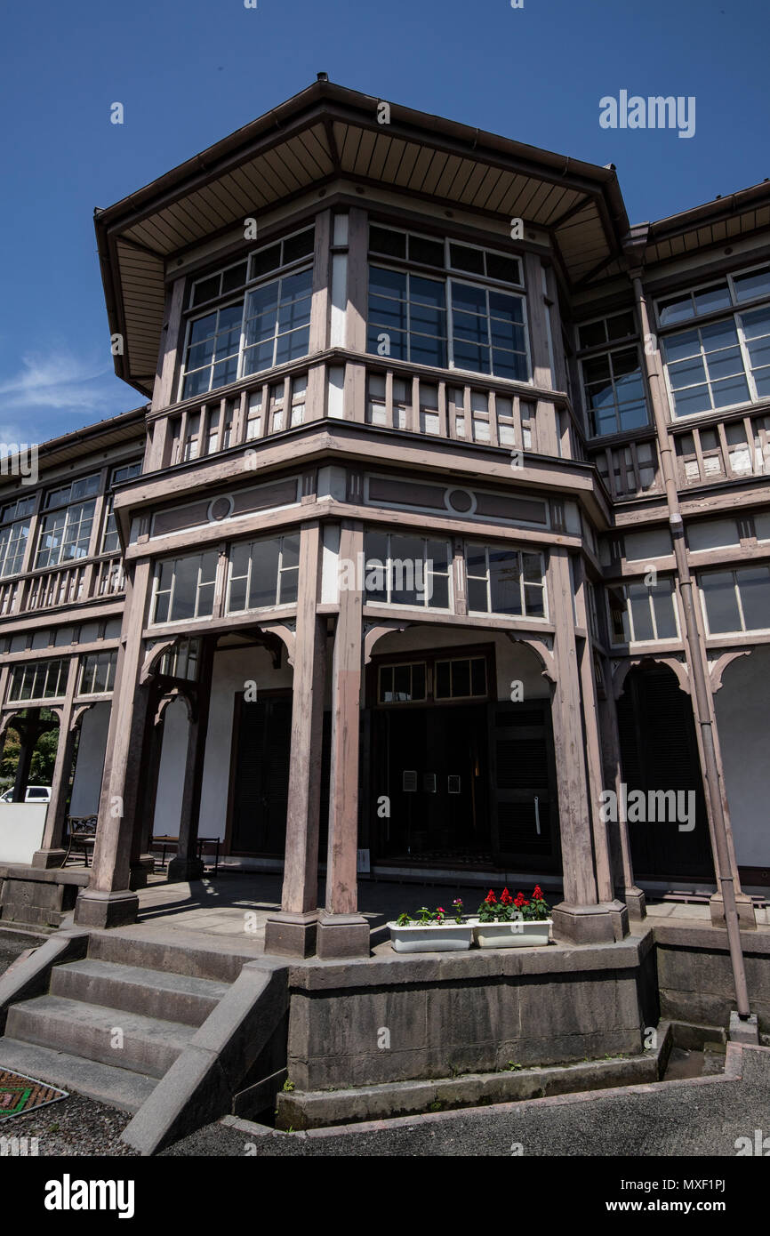 Ijinkan Foreigners Mansion was officially called the Bosekisho Gishikan Old Kagoshima Spinning Engineers House.  The building resembles  its counterpa - Stock Image