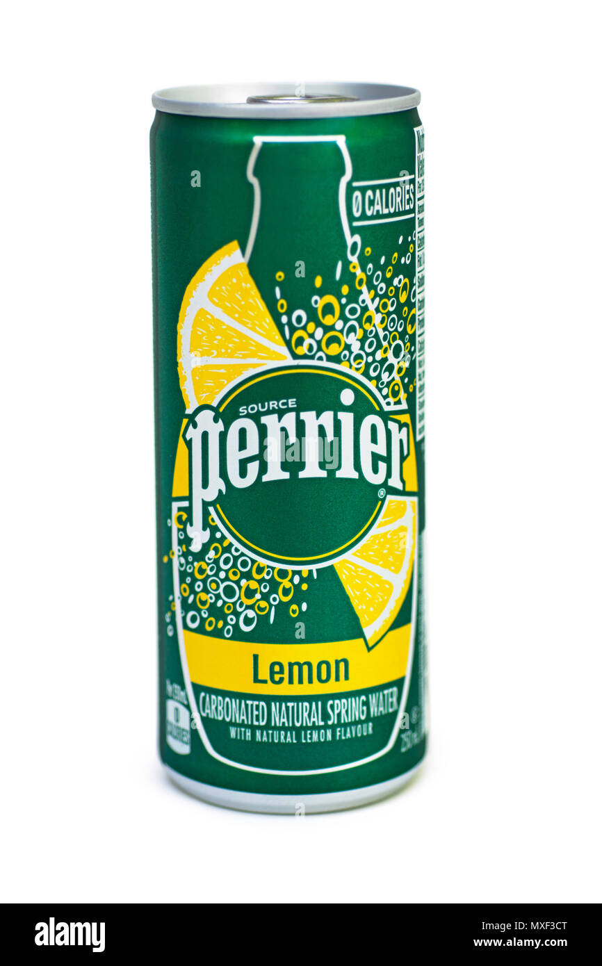 Can of Perrier Carbonated Natural Spring Water Lemon Flavour - Stock Image