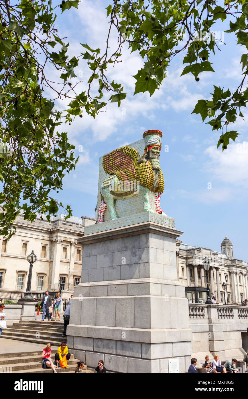 Assyrian Lamassu statue, The Invisible Enemy Should Not Exist, Fourth Plinth, Trafalgar Square, National Gallery behind, Westminster, central London W - Stock Image
