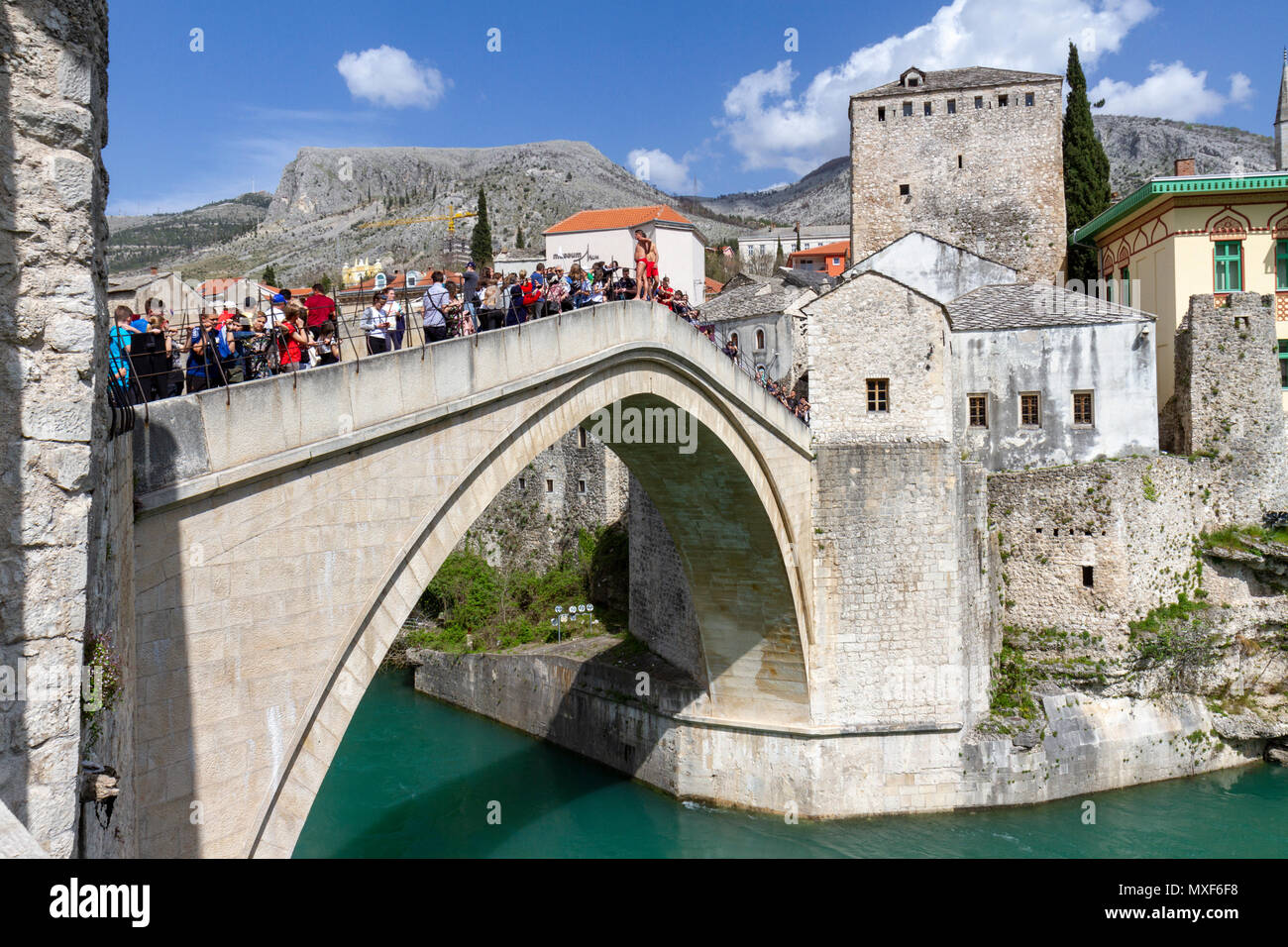 The historic Stari Most (Old Bridge) over the Neretva river in Mostar, the Federation of Bosnia and Herzegovina. - Stock Image