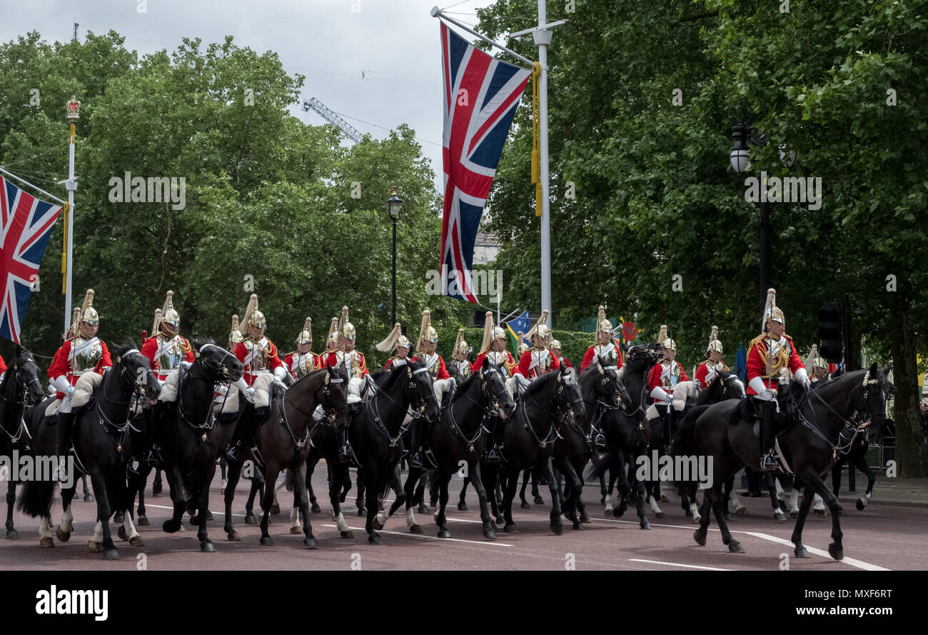 Household Cavalry taking part in the Trooping the Colour ceremony to mark the Queen's birthday, photographed on a sunny day at The Mall, London UK Stock Photo